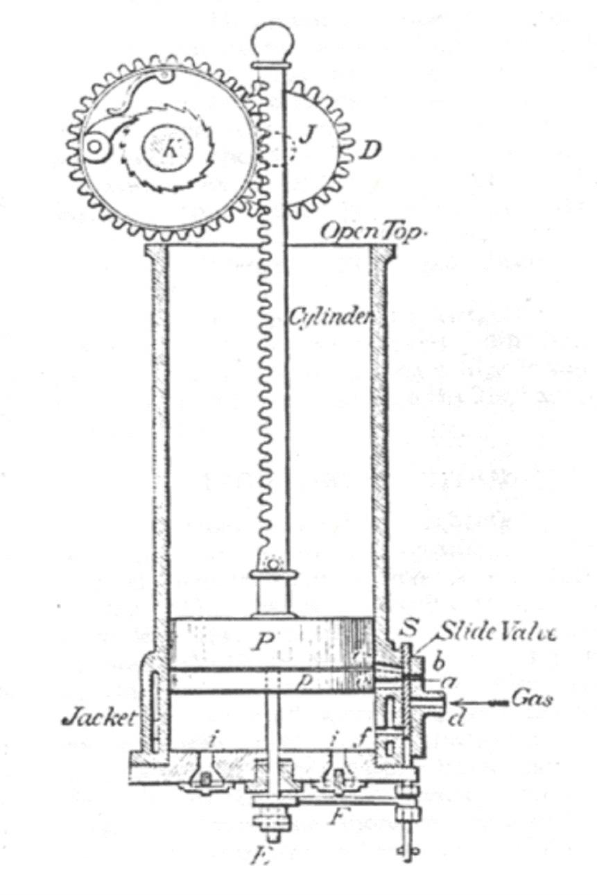 Атмосферный двигатель Отто образца 1864года. Схема конструкции